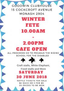Poster promoting the Winter Fete at Monash
